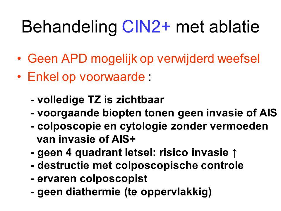 Behandeling CIN2+ met ablatie Geen APD mogelijk op verwijderd weefsel Enkel op voorwaarde : - volledige TZ is zichtbaar - voorgaande biopten tonen gee