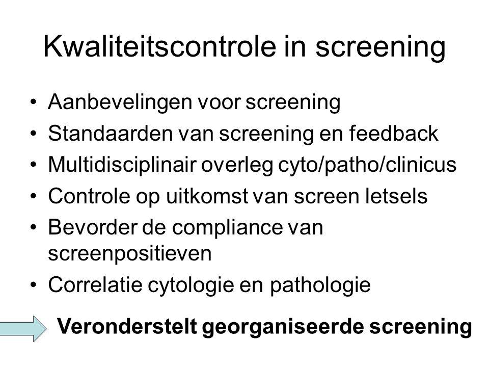 Kwaliteitscontrole in screening Aanbevelingen voor screening Standaarden van screening en feedback Multidisciplinair overleg cyto/patho/clinicus Contr