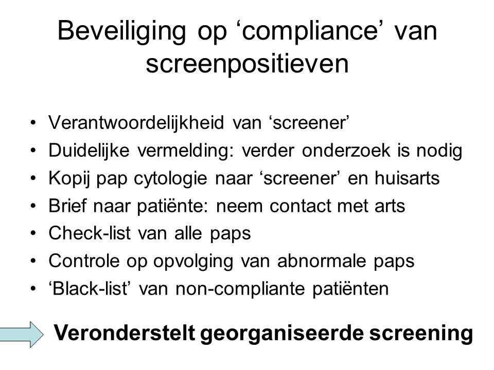 Beveiliging op 'compliance' van screenpositieven Verantwoordelijkheid van 'screener' Duidelijke vermelding: verder onderzoek is nodig Kopij pap cytolo