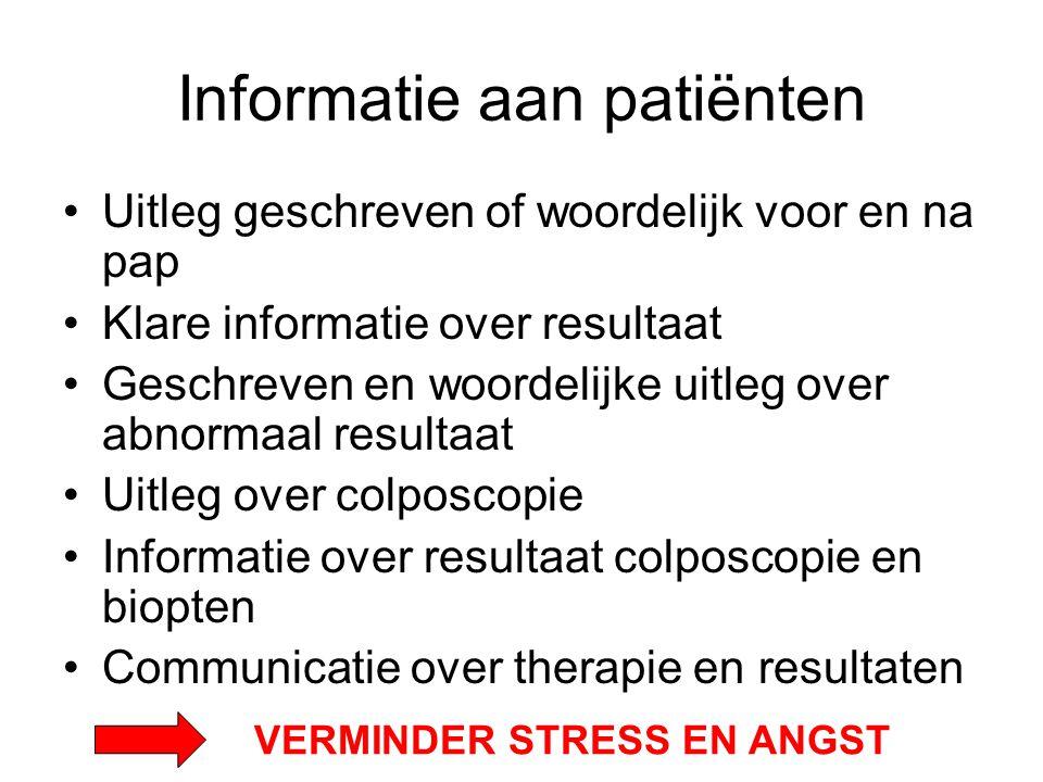 Informatie aan patiënten Uitleg geschreven of woordelijk voor en na pap Klare informatie over resultaat Geschreven en woordelijke uitleg over abnormaa