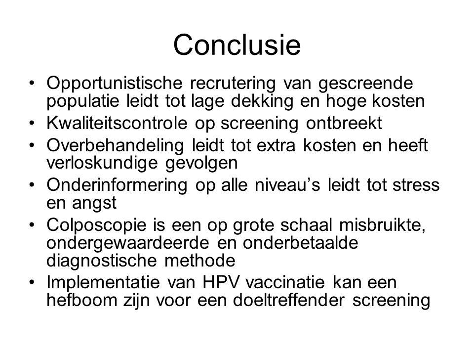 Conclusie Opportunistische recrutering van gescreende populatie leidt tot lage dekking en hoge kosten Kwaliteitscontrole op screening ontbreekt Overbe
