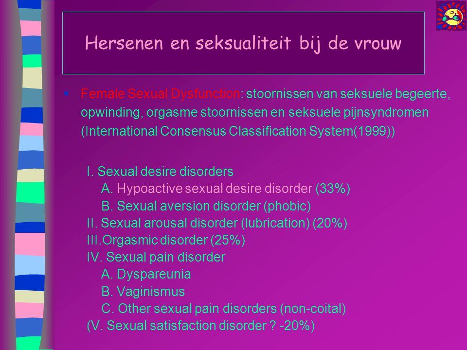 Hersenen en seksualiteit bij de vrouw  Female Sexual Dysfunction: stoornissen van seksuele begeerte, opwinding, orgasme stoornissen en seksuele pijns