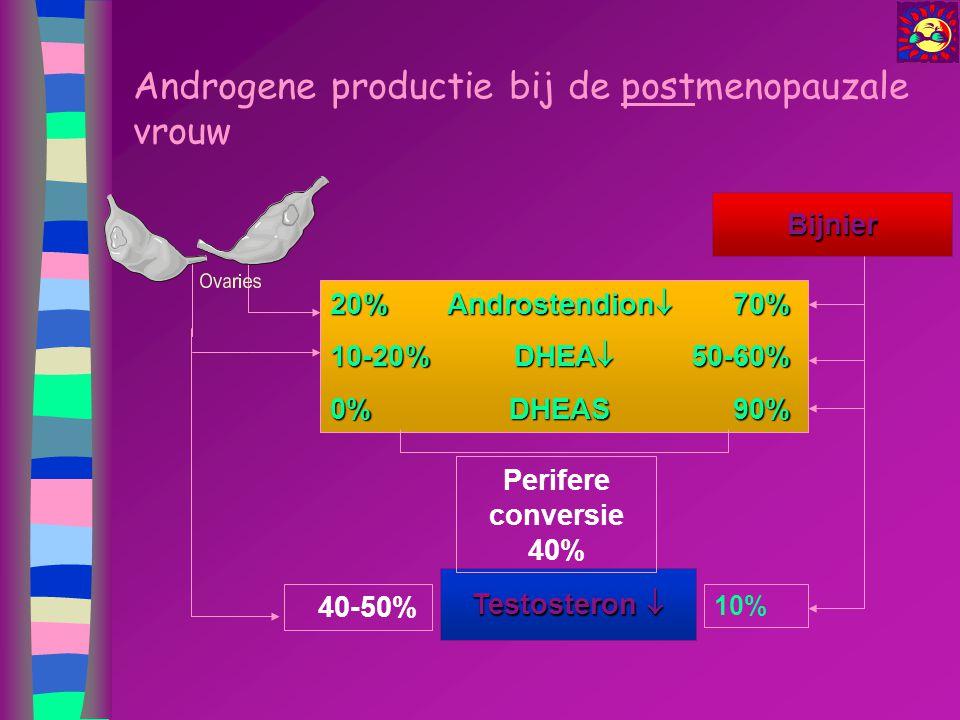 Androgene productie bij de postmenopauzale vrouw Bijnier Testosteron  20%Androstendion  70% 10-20% DHEA  50-60% 0%DHEAS90% 40-50% Perifere conversi