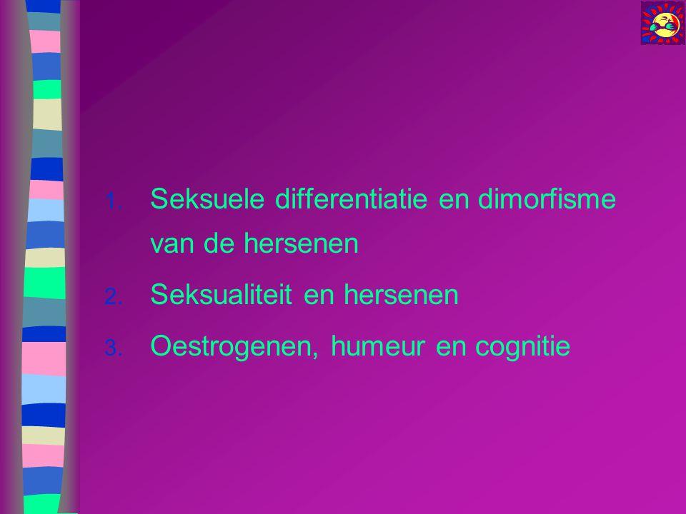 Werking van steroïden Oestradiol: –Bindt op ER-α en op ER-β (verschillende weefseldistributie, ook in de hersenen) –Traag en langdurend genomisch effect Klassiek effect –Snel en kortdurend non-genomisch effect Seksuele differentiatie hersenen.