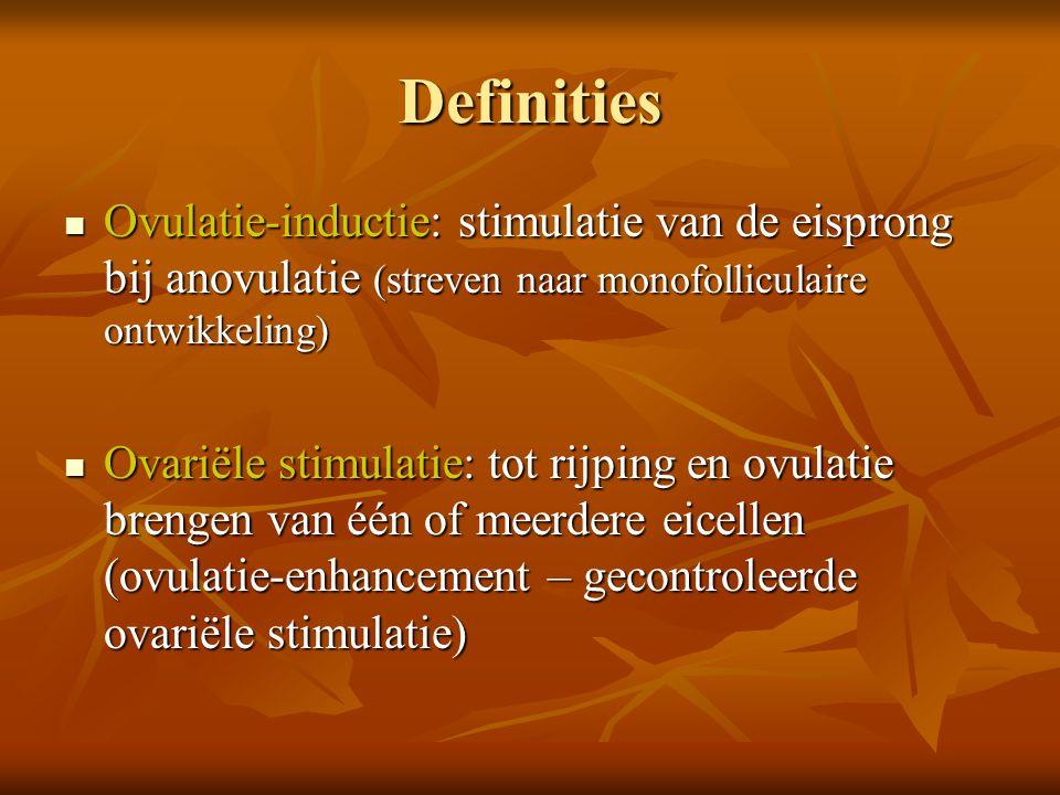 Indeling ovulatiestoornissen Polycysteus ovarium syndroom PCO Polycysteus ovarium syndroom PCO Hypothalamo-hypofysaire anovulatie zonder PCOS en zonder POF (premature ovarian failure) Hypothalamo-hypofysaire anovulatie zonder PCOS en zonder POF (premature ovarian failure) Hyperprolactinemie Hyperprolactinemie Hypo (normo)gonadotrope hypo-oestrogene normoprolactinemische amenorrhoe Hypo (normo)gonadotrope hypo-oestrogene normoprolactinemische amenorrhoe VVOG richtlijn over ovulatie-inductie, Gunaikeia 7,2,2002