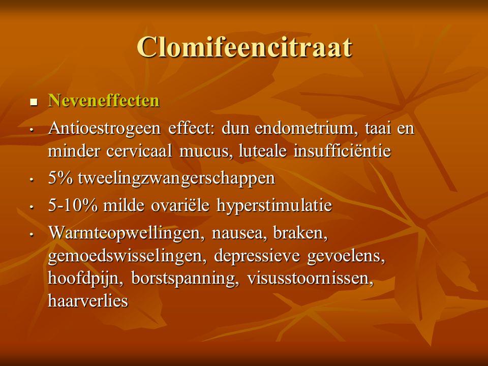 Clomifeencitraat Duur van behandeling: 4 à 6 cycli Duur van behandeling: 4 à 6 cycli Resultaat: Resultaat: Ovulatie: 70-90% Ovulatie: 70-90% Conceptie: 12-25% per cyclus Conceptie: 12-25% per cyclus Cumulatief na 6 maanden: 40-60 % Cumulatief na 6 maanden: 40-60 % OR: 3,41 (4,23-9,48 CI) versus placebo OR: 3,41 (4,23-9,48 CI) versus placebo