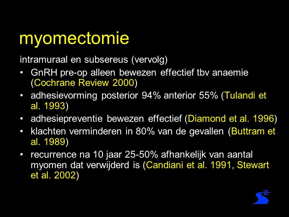 myomectomie intramuraal en subsereus (vervolg) GnRH pre-op alleen bewezen effectief tbv anaemie (Cochrane Review 2000) adhesievorming posterior 94% an