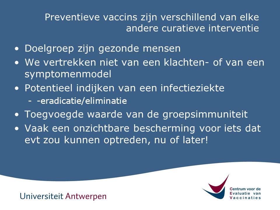 Preventieve vaccins zijn verschillend van elke andere curatieve interventie Doelgroep zijn gezonde mensen We vertrekken niet van een klachten- of van