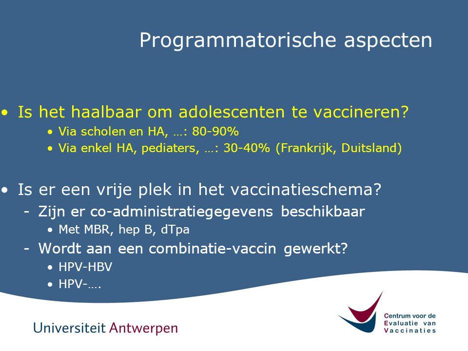Programmatorische aspecten Is het haalbaar om adolescenten te vaccineren? Via scholen en HA, …: 80-90% Via enkel HA, pediaters, …: 30-40% (Frankrijk,