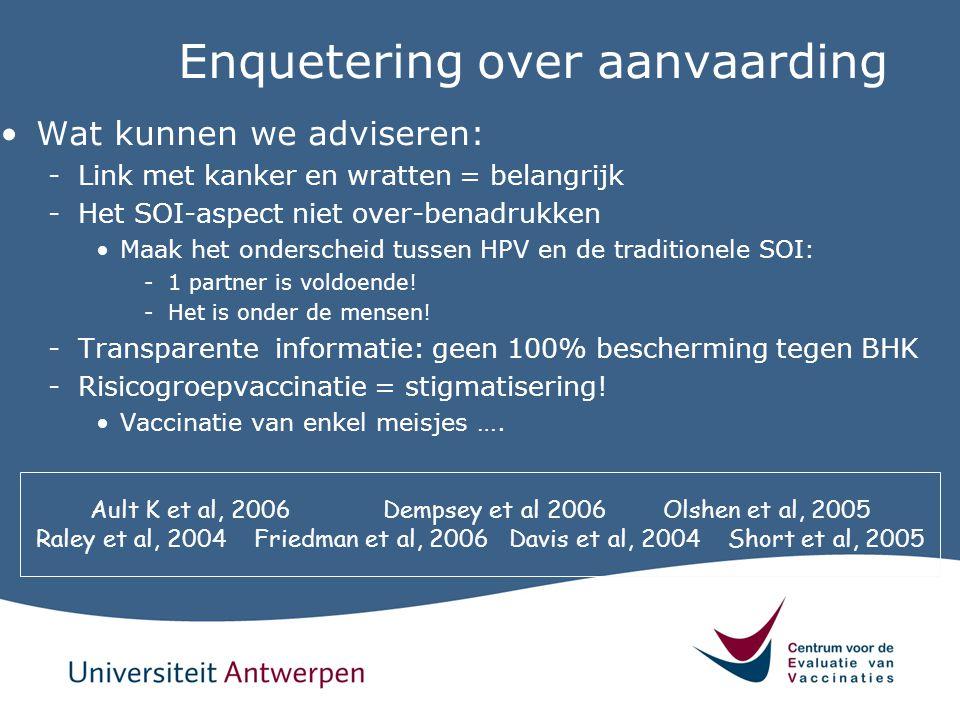 Enquetering over aanvaarding Wat kunnen we adviseren: -Link met kanker en wratten = belangrijk -Het SOI-aspect niet over-benadrukken Maak het ondersch
