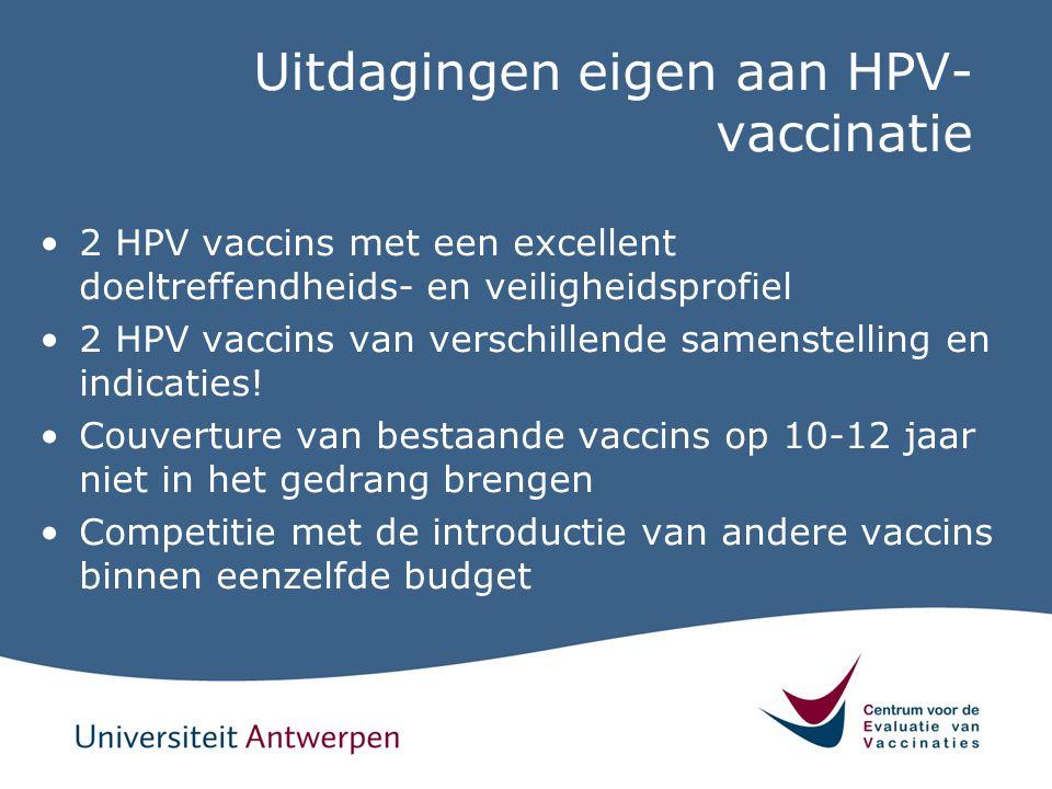 Uitdagingen eigen aan HPV- vaccinatie 2 HPV vaccins met een excellent doeltreffendheids- en veiligheidsprofiel 2 HPV vaccins van verschillende samenst