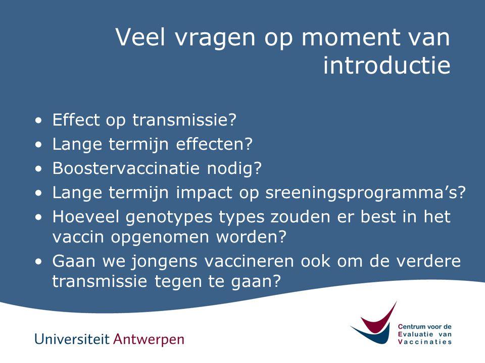 Veel vragen op moment van introductie Effect op transmissie? Lange termijn effecten? Boostervaccinatie nodig? Lange termijn impact op sreeningsprogram
