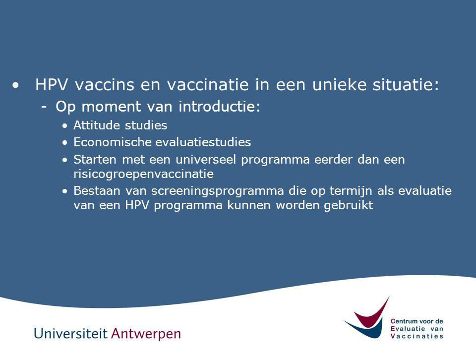HPV vaccins en vaccinatie in een unieke situatie: -Op moment van introductie: Attitude studies Economische evaluatiestudies Starten met een universeel