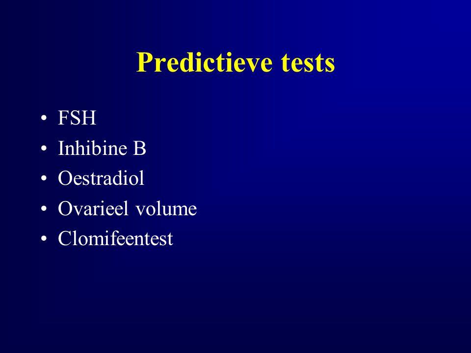 Predictieve tests FSH Inhibine B Oestradiol Ovarieel volume Clomifeentest