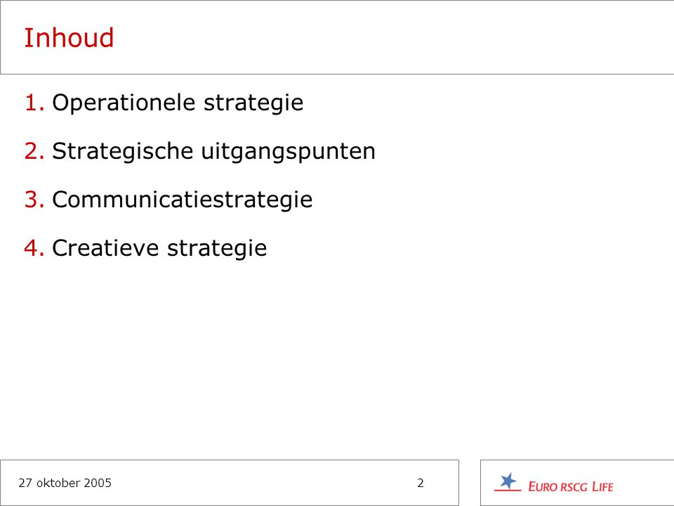 27 oktober 20052 Inhoud 1.Operationele strategie 2.Strategische uitgangspunten 3.Communicatiestrategie 4.Creatieve strategie