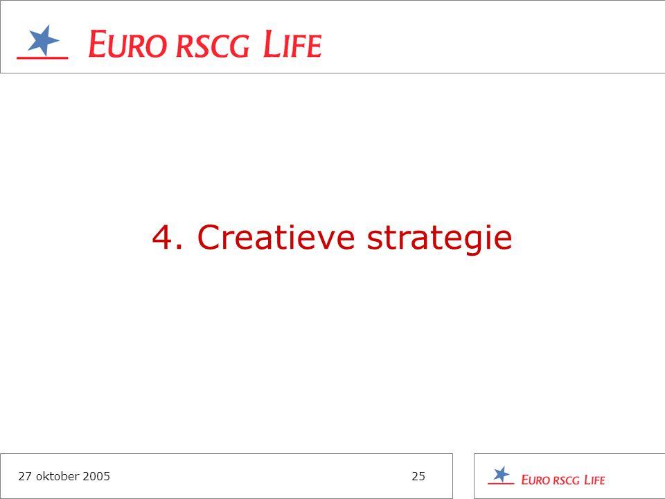 27 oktober 200525 4. Creatieve strategie