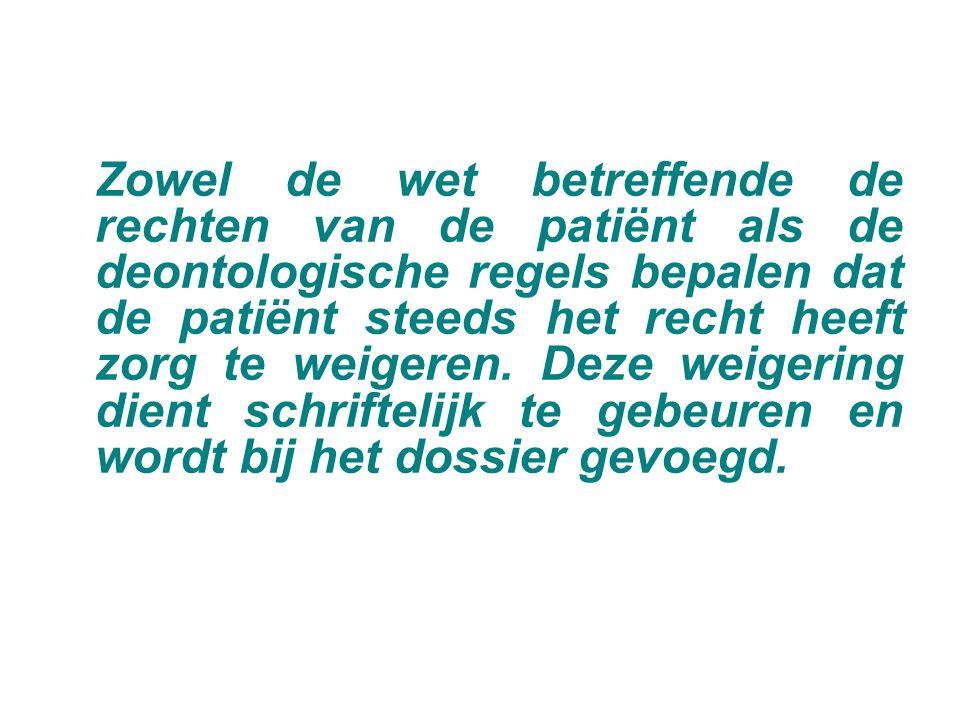 Zowel de wet betreffende de rechten van de patiënt als de deontologische regels bepalen dat de patiënt steeds het recht heeft zorg te weigeren.