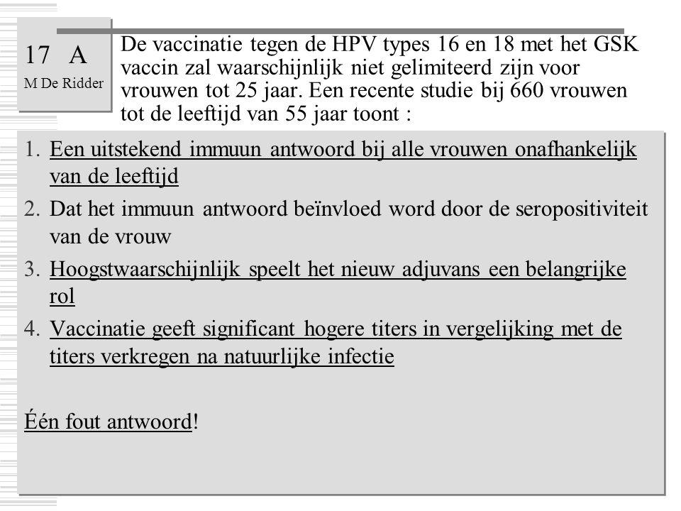 De vaccinatie tegen de HPV types 16 en 18 met het GSK vaccin zal waarschijnlijk niet gelimiteerd zijn voor vrouwen tot 25 jaar. Een recente studie bij