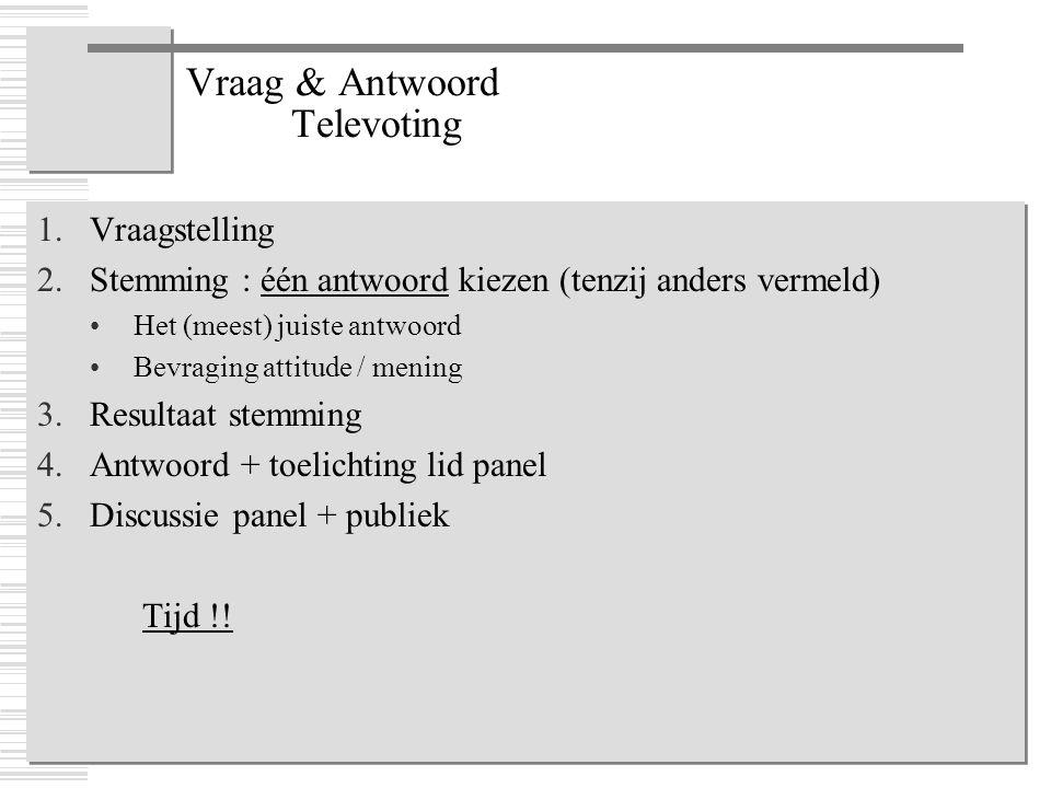 Vraag & Antwoord Televoting 1.Vraagstelling 2.Stemming : één antwoord kiezen (tenzij anders vermeld) Het (meest) juiste antwoord Bevraging attitude /