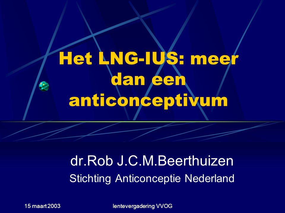 15 maart 2003lentevergadering VVOG Bloedverlies bij IUDs Normaal (zonder IUD): 30-40 ml Inerte IUDs: 50-70 ml Koper IUDs: 40-50 ml LNG-IUS (Mirena): <20 ml N.B.