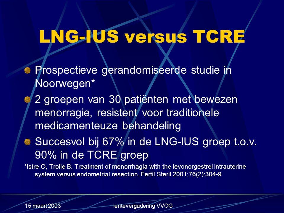 15 maart 2003lentevergadering VVOG LNG-IUS versus TCRE Prospectieve gerandomiseerde studie in Noorwegen* 2 groepen van 30 patiënten met bewezen menorragie, resistent voor traditionele medicamenteuze behandeling Succesvol bij 67% in de LNG-IUS groep t.o.v.