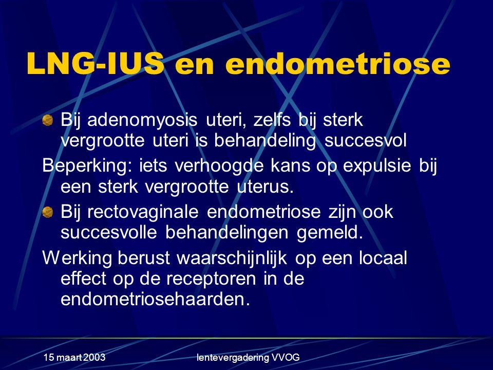 15 maart 2003lentevergadering VVOG LNG-IUS en endometriose Bij adenomyosis uteri, zelfs bij sterk vergrootte uteri is behandeling succesvol Beperking: iets verhoogde kans op expulsie bij een sterk vergrootte uterus.