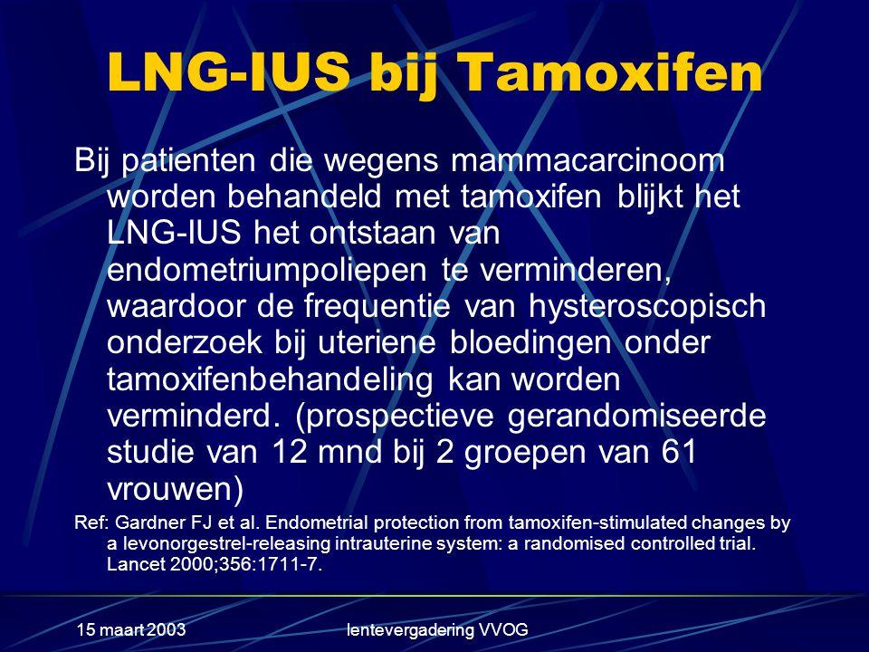 15 maart 2003lentevergadering VVOG LNG-IUS bij Tamoxifen Bij patienten die wegens mammacarcinoom worden behandeld met tamoxifen blijkt het LNG-IUS het ontstaan van endometriumpoliepen te verminderen, waardoor de frequentie van hysteroscopisch onderzoek bij uteriene bloedingen onder tamoxifenbehandeling kan worden verminderd.