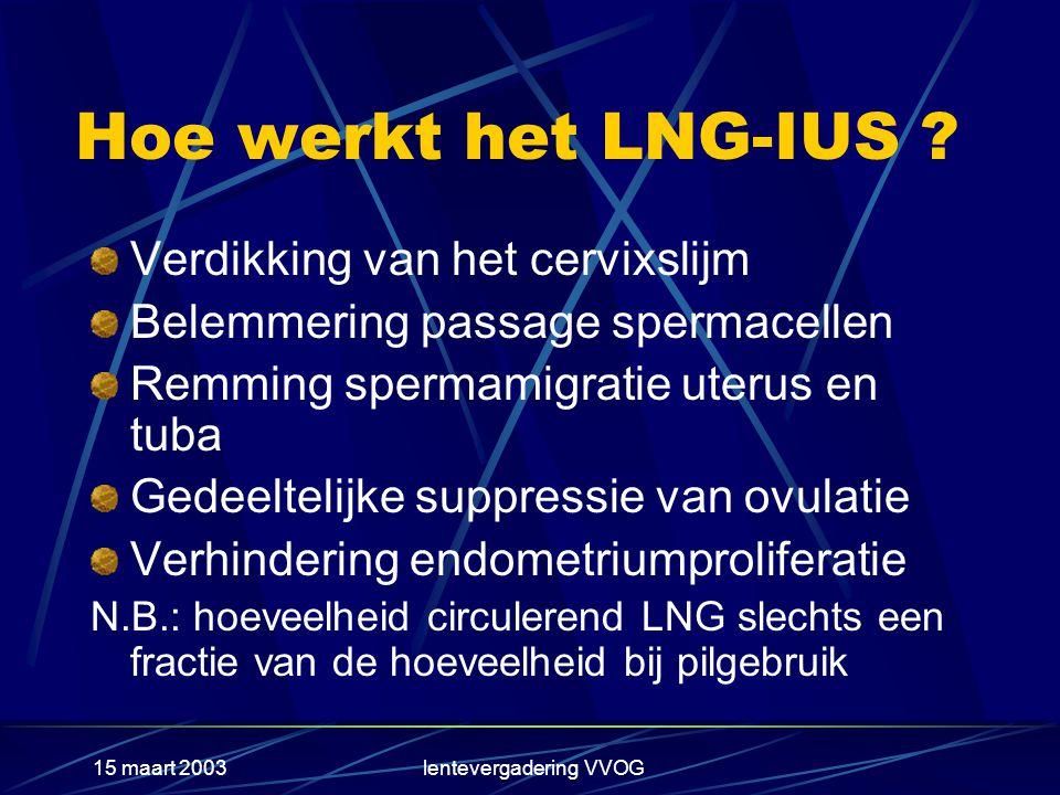 15 maart 2003lentevergadering VVOG Conclusie (2) Bovendien is het LNG-IUS bijzonder effectief als adjuvante therapie bij HST en ter voorkoming van poliepvorming bij patiënten, die tamoxifen gebruiken