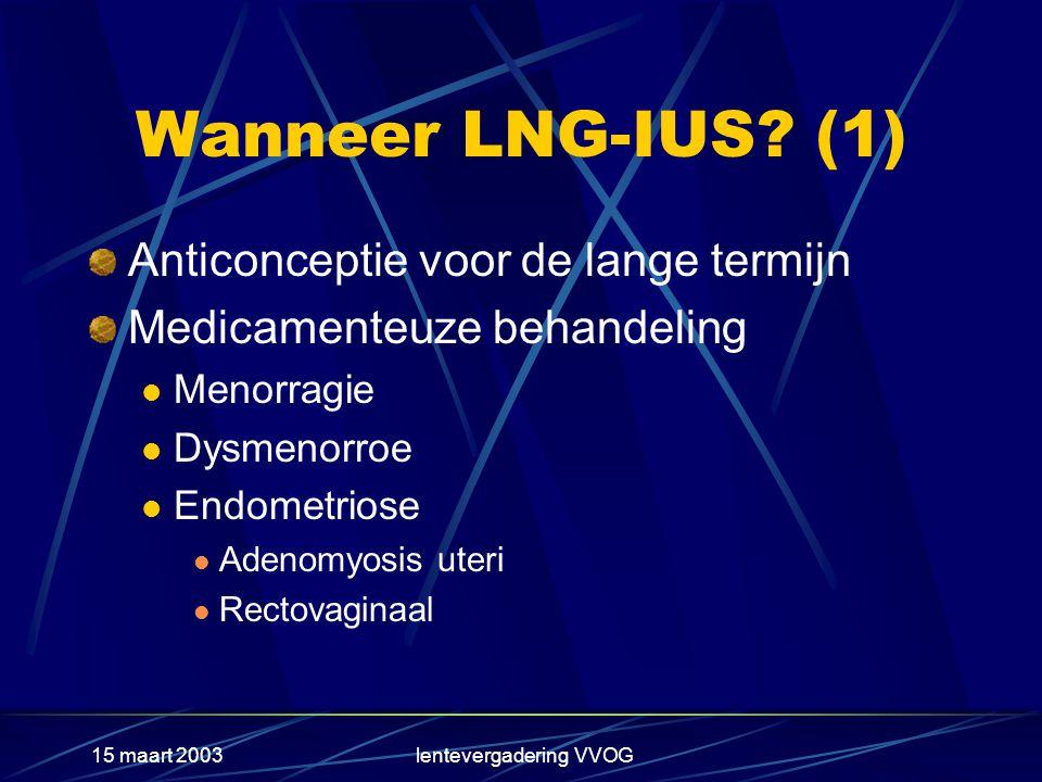 15 maart 2003lentevergadering VVOG LNG-IUS als adjuvans bij HST(1) In alle prospectieve gerandomiseerde studies, waarbij de toepassing van het LNG- IUS vergeleken wordt met regimes van cyclische of continue toediening van progestagenen blijkt alleen het LNG-IUS in alle gevallen volledige atrofie van het endometrium te veroorzaken Beperking: uteri met een sondelengte < 5 cm