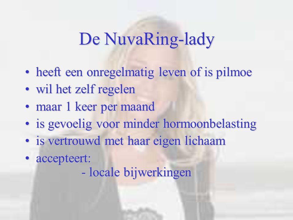 De NuvaRing-lady heeft een onregelmatig leven of is pilmoeheeft een onregelmatig leven of is pilmoe wil het zelf regelenwil het zelf regelen maar 1 ke