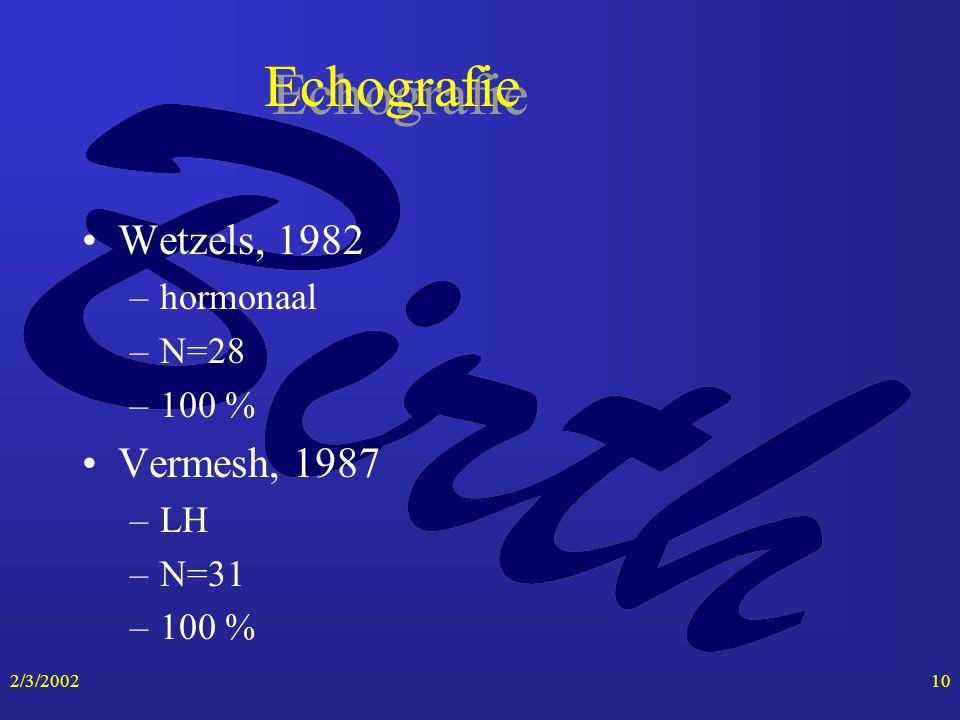2/3/200210 Echografie Wetzels, 1982 –hormonaal –N=28 –100 % Vermesh, 1987 –LH –N=31 –100 %