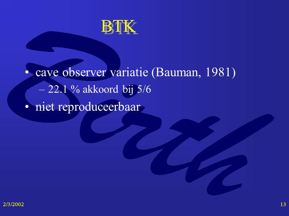 2/3/200213 BTK cave observer variatie (Bauman, 1981) –22.1 % akkoord bij 5/6 niet reproduceerbaar