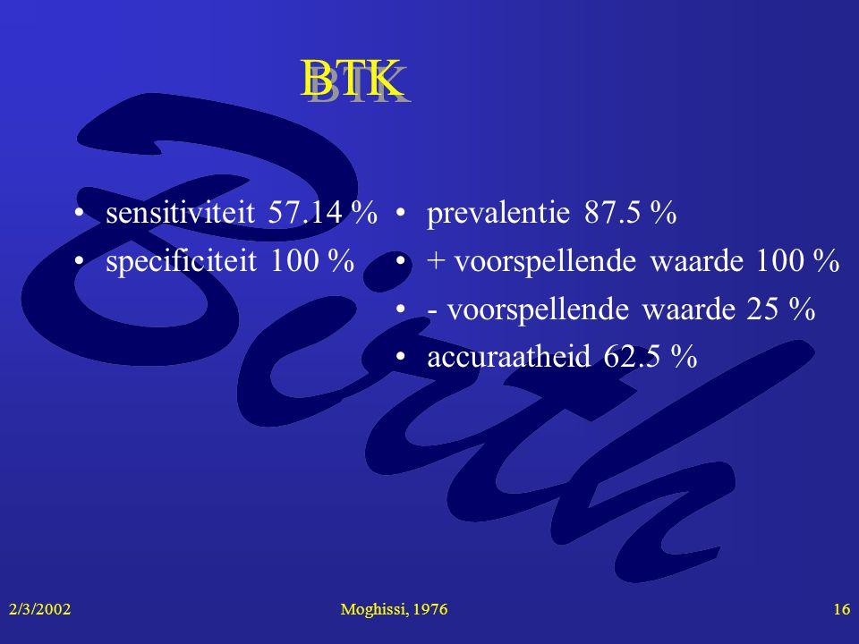 2/3/2002Moghissi, 197616 BTK sensitiviteit 57.14 % specificiteit 100 % prevalentie 87.5 % + voorspellende waarde 100 % - voorspellende waarde 25 % acc