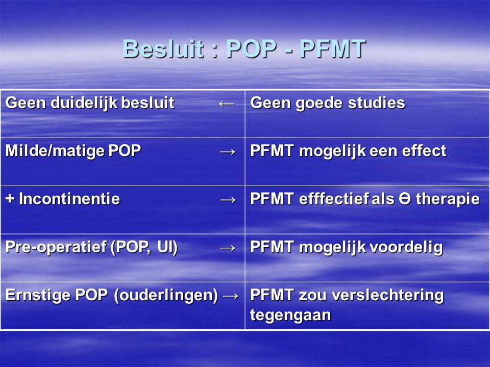 Besluit : POP - PFMT Geen duidelijk besluit ← Geen goede studies Milde/matige POP → PFMT mogelijk een effect + Incontinentie → PFMT efffectief als Ө t