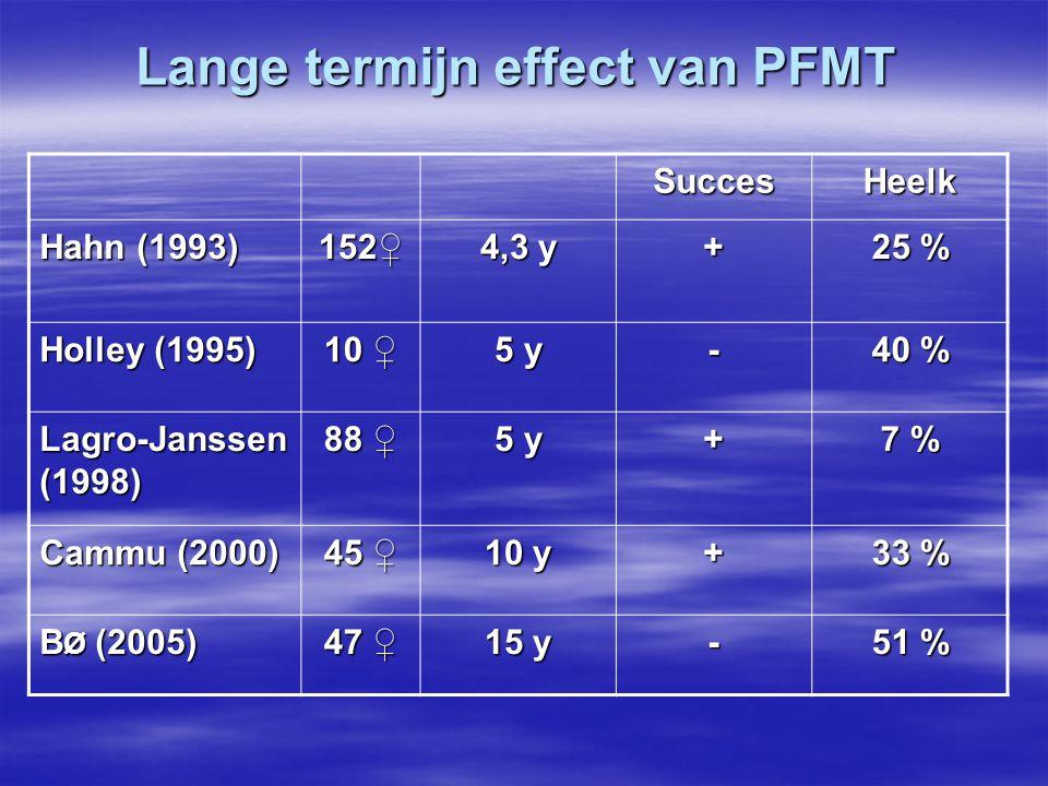 Lange termijn effect van PFMT SuccesHeelk Hahn (1993) 152♀ 4,3 y + 25 % Holley (1995) 10 ♀ 5 y - 40 % Lagro-Janssen (1998) 88 ♀ 5 y + 7 % Cammu (2000)
