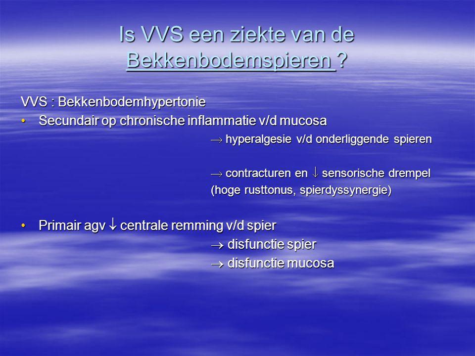 Is VVS een ziekte van de Bekkenbodemspieren ? VVS : Bekkenbodemhypertonie Secundair op chronische inflammatie v/d mucosaSecundair op chronische inflam