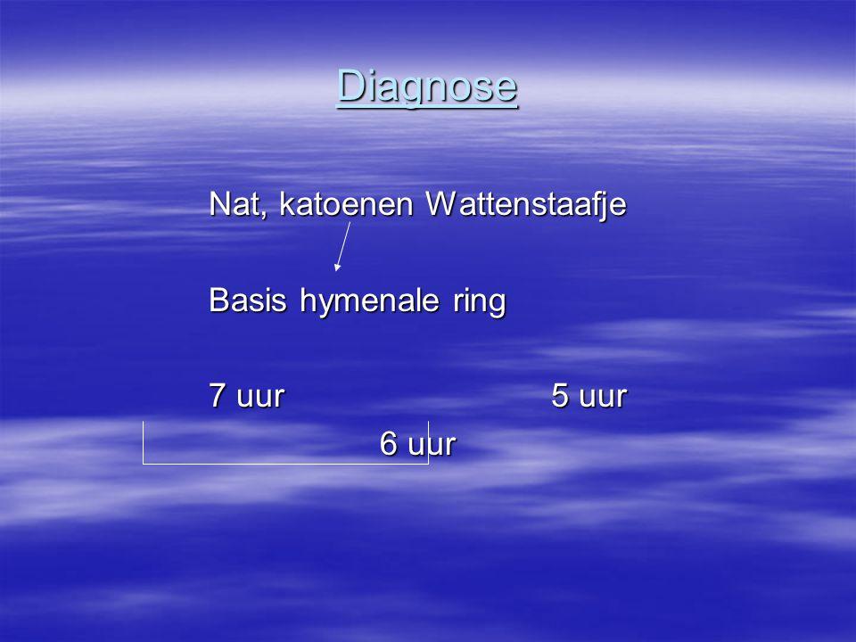 Diagnose Nat, katoenen Wattenstaafje Basis hymenale ring Basis hymenale ring 7 uur 5 uur 7 uur 5 uur 6 uur 6 uur