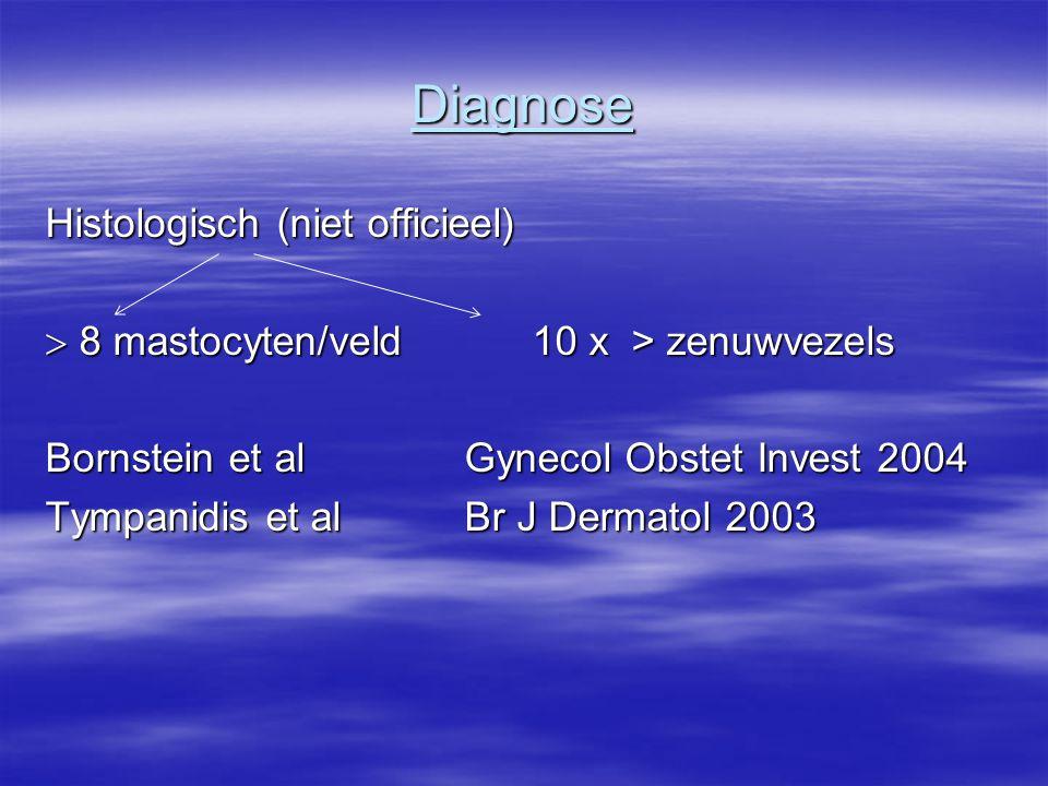 Diagnose Histologisch (niet officieel)  8 mastocyten/veld 10 x > zenuwvezels Bornstein et al Gynecol Obstet Invest 2004 Tympanidis et al Br J Dermato