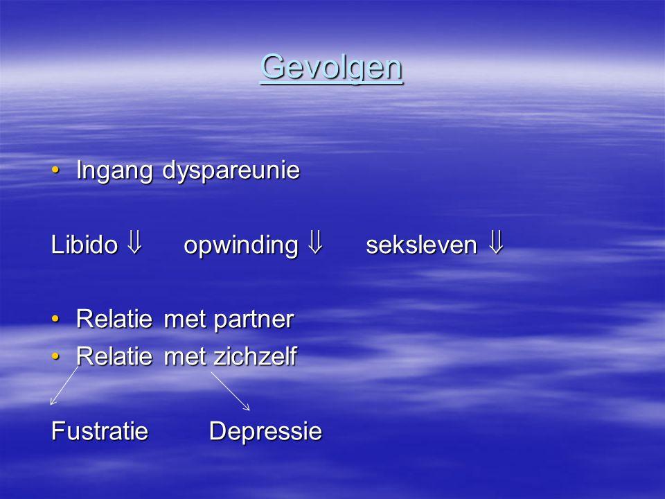 Gevolgen Ingang dyspareunieIngang dyspareunie Libido  opwinding  seksleven  Relatie met partnerRelatie met partner Relatie met zichzelfRelatie met