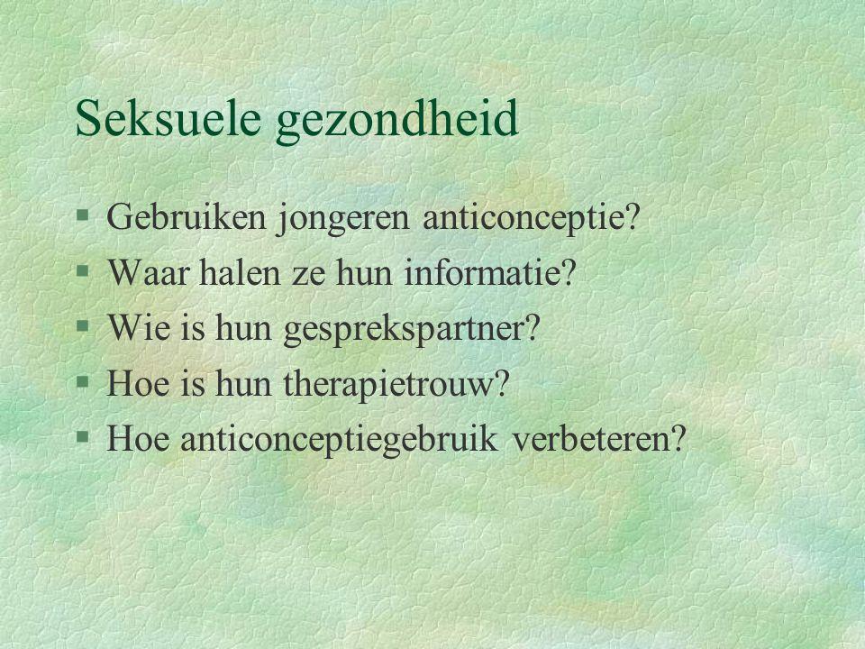 Seksuele gezondheid §Gebruiken jongeren anticonceptie.