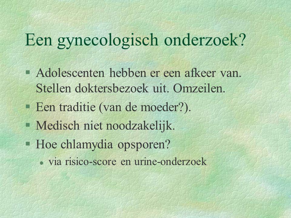 Een gynecologisch onderzoek.§Adolescenten hebben er een afkeer van.