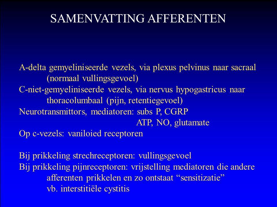 A-delta gemyeliniseerde vezels, via plexus pelvinus naar sacraal (normaal vullingsgevoel) C-niet-gemyeliniseerde vezels, via nervus hypogastricus naar
