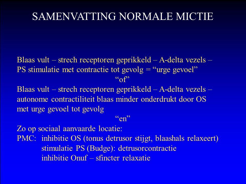 """Blaas vult – strech receptoren geprikkeld – A-delta vezels – PS stimulatie met contractie tot gevolg = """"urge gevoel"""" """"of"""" Blaas vult – strech receptor"""