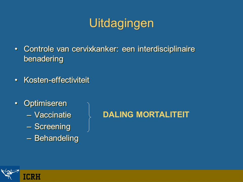 Uitdagingen Controle van cervixkanker: een interdisciplinaire benadering Kosten-effectiviteit Optimiseren –Vaccinatie –Screening –Behandeling Controle van cervixkanker: een interdisciplinaire benadering Kosten-effectiviteit Optimiseren –Vaccinatie –Screening –Behandeling DALING MORTALITEIT