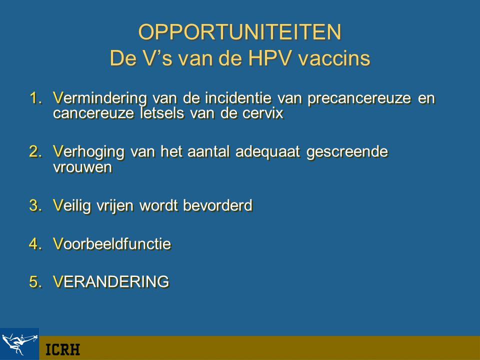 OPPORTUNITEITEN De V's van de HPV vaccins 1.Vermindering van de incidentie van precancereuze en cancereuze letsels van de cervix 2.Verhoging van het aantal adequaat gescreende vrouwen 3.Veilig vrijen wordt bevorderd 4.Voorbeeldfunctie 5.VERANDERING 1.Vermindering van de incidentie van precancereuze en cancereuze letsels van de cervix 2.Verhoging van het aantal adequaat gescreende vrouwen 3.Veilig vrijen wordt bevorderd 4.Voorbeeldfunctie 5.VERANDERING