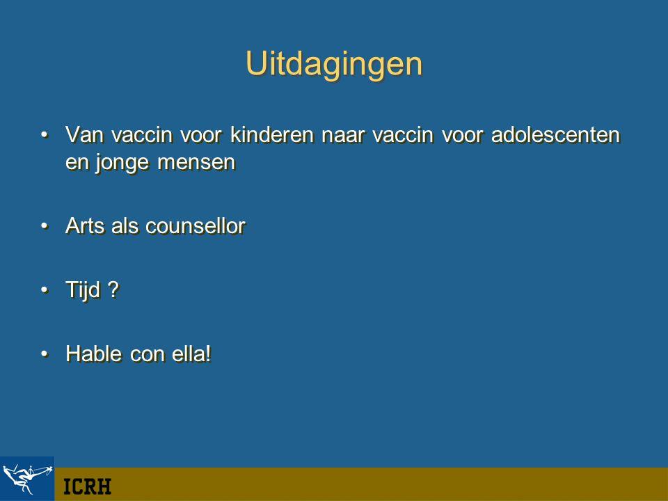 Uitdagingen Van vaccin voor kinderen naar vaccin voor adolescenten en jonge mensen Arts als counsellor Tijd .