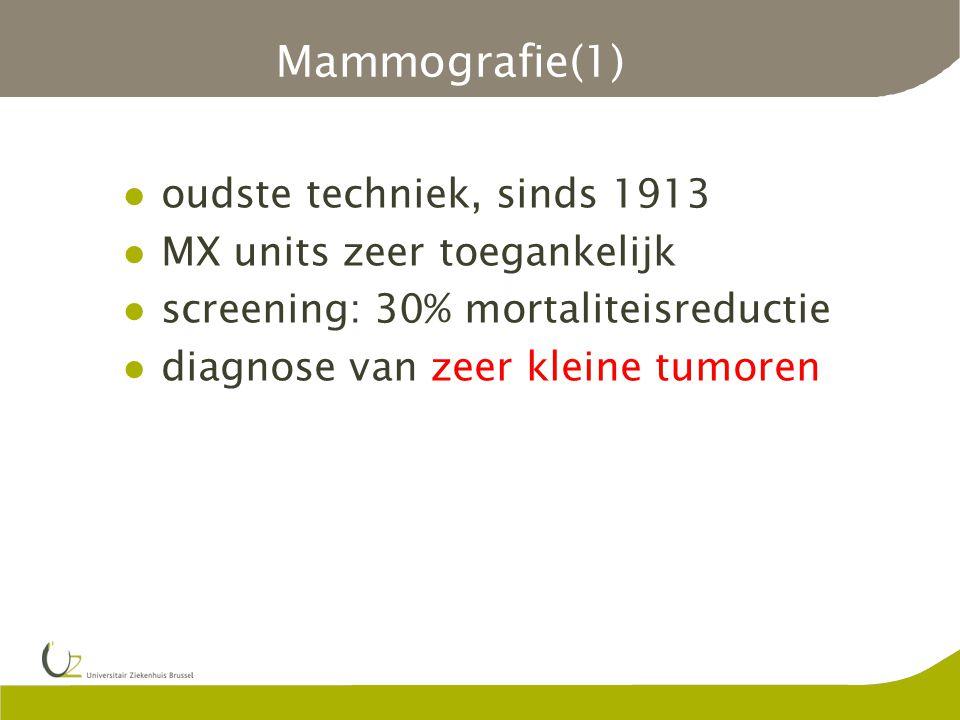 Mammografie(1) oudste techniek, sinds 1913 MX units zeer toegankelijk screening: 30% mortaliteisreductie diagnose van zeer kleine tumoren