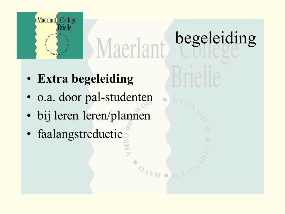 begeleiding Extra begeleiding o.a. door pal-studenten bij leren leren/plannen faalangstreductie
