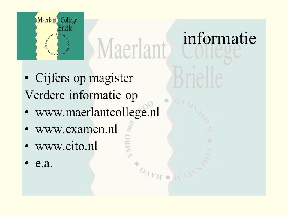 informatie Cijfers op magister Verdere informatie op www.maerlantcollege.nl www.examen.nl www.cito.nl e.a.