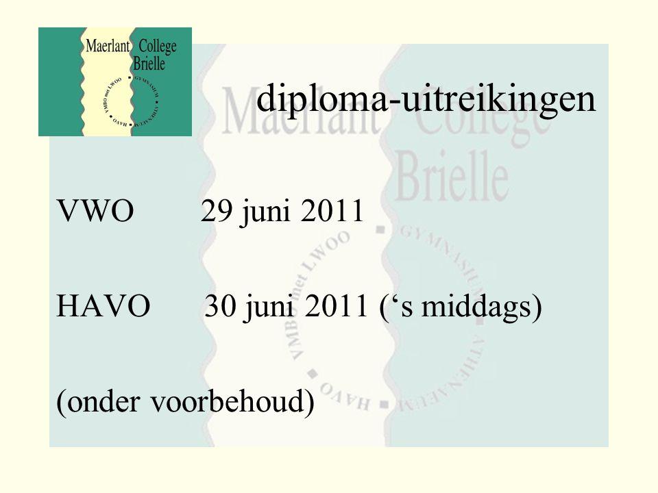diploma-uitreikingen VWO 29 juni 2011 HAVO 30 juni 2011 ('s middags) (onder voorbehoud)
